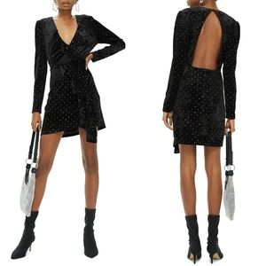 NEW TOPSHOP Black Stud Velvet Frill Cocktail Dress